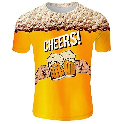 Madmoon Herren T-Shirts Bier 3D DruckBierfest München Muster Kurzen Ärmels Kurzarm Shirt Sport Fitness T-Shirt Lässige Graphics Tees Männer Fun Atmungsaktiv Schnell trocknend Kurzarm Top - Baumwolle Popeline Gingham Shirt