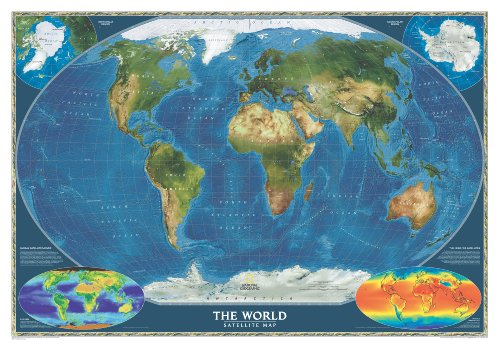 World Satellite Wall Maps World (Reference - World)