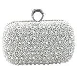 Heyjewels Handmade Schick Weiss Perlen Damen Clutch Abendtasche Brautbeutel Handtasche mit Kette