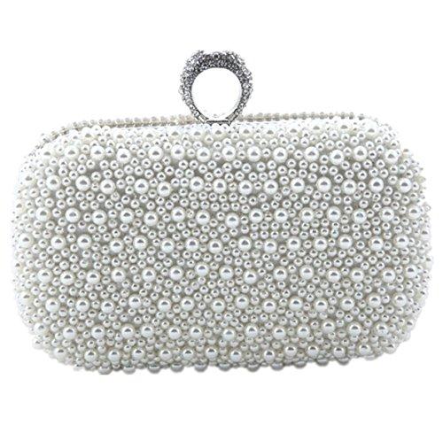 Heyjewels Handmade Schick Weiss Perlen Damen Clutch Abendtasche Brautbeutel Handtasche mit Kette - Perlen Clutch Tasche