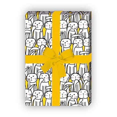 """Kartenkaufrausch Lustiges Oster Geschenkpapier Set 4 Bogen,""""die Hasenversammlung"""", gelb, für tolle Geschenkverpackung 32 x 48cm, zu Ostern Weihnachten Geburtstag, universal Geschenkpapier"""