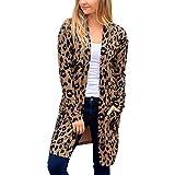 Frauenmantel Wechseljahre Frauen Langarm Leopardenmuster Tasche Mode Mantel Bluse T-Shirt Cardigan Top Damen Mantel Tailliert