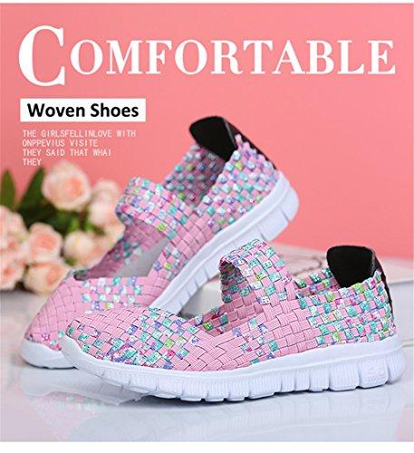 L-RUN Frauen Wasser Schuhe gewebt leichte Schlupf auf Sportschuhe Casual Rosa