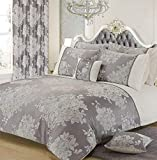 Blumen Jacquard Silbergrau Weiß Doppelbett Bettwäsche