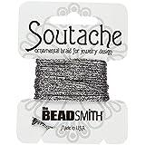 Beadsmith cable de soutache metálico–Plata Negro 3m