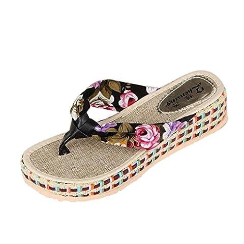 Sandales, Malloom Femmes Coin Plate-Forme Tongs Plage DéContractéE Chaussures Chaussures (38, Noir)
