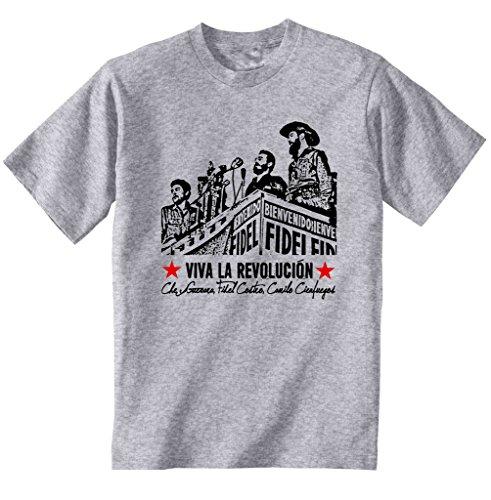 teesquare1st Men's Che Guevara FIDEL Castro Cienfuegos Grey T-Shirt Size Small
