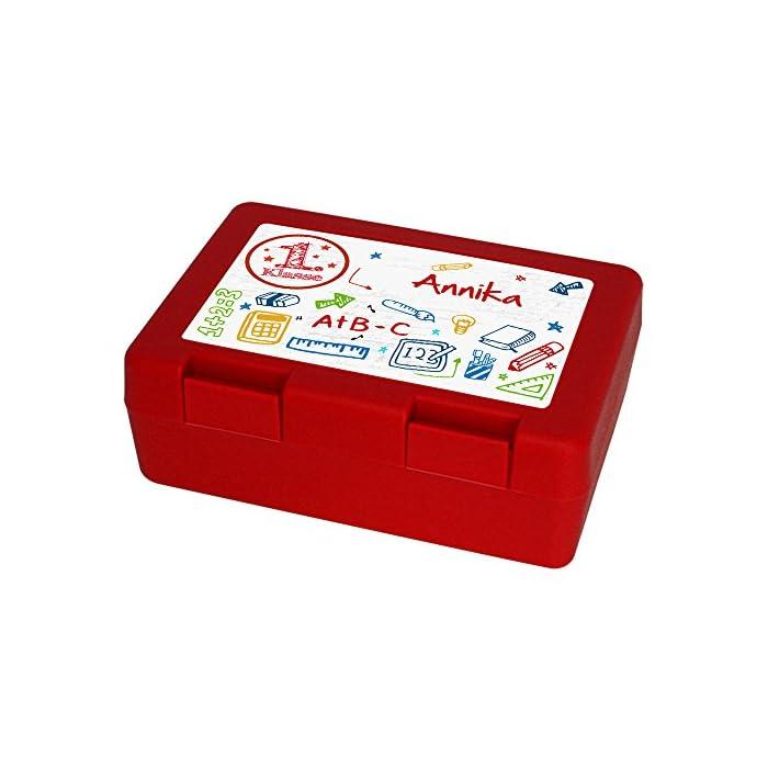 Brotdose mit Namen Annika und 1. Klasse-Motiv zur Einschulung, für Mädchen, rot - Brotbox - Vesperdose - Vesperbox - Brotzeitdose mit Vornamen 1
