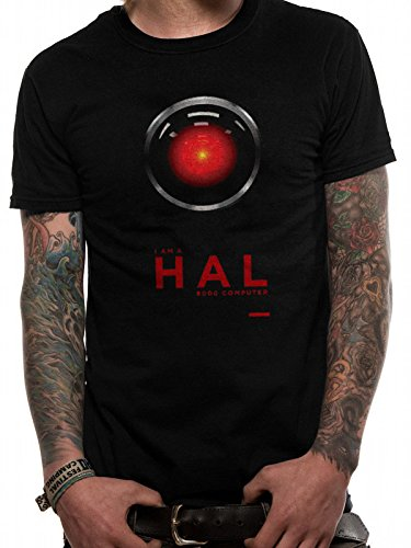 Absolute Cult 2001: A Space Odyssey Hombre HAL 9000 Camiseta Negro Small