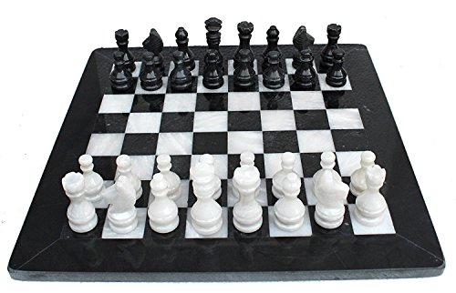 APDITS Handmade Staunton Chess Set Black and White Marble Chess Set UniqueChessset Ideal for TournamentChessSet, Home Decor, Table Desk Dcor, Marble. (Chess Set Black)