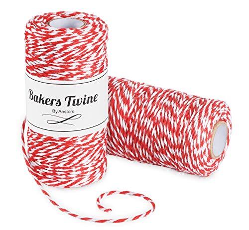 Anstore 200m Baumwolle Bäcker Schnur String Kordel Bakers Twine für Glas Flasche Geschenk Box Decor Craft Weihnachten Dekoration, Rot und Weiß