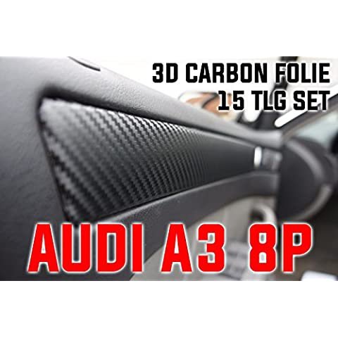 Audi A38P 4puertas Original 3d Carbon Moldura Juego de protectores Set, 15piezas de lámina 3d de carbono negro, para el interior de su fahrzeuges Audi A38P