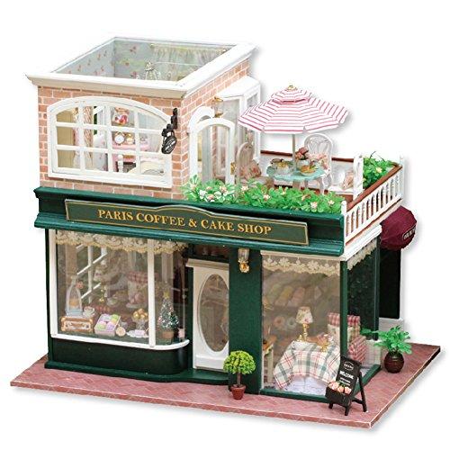 Preisvergleich Produktbild LianLe Puppenhaus 2 Etagen Café DIY Paris Coffe Cake Shop mit Balkon Kinder Geschenk