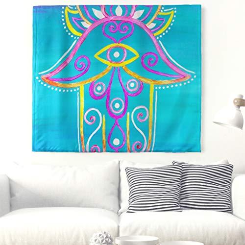 Aquarell Hamsa Hand Malerei Wandteppich Mandala Hand der Fatima Wandbehang Symbol der Glück Wanddecke Böses Auge Lotus Folkart Zauberstab Hippie Psychedelische Tapisserie Tischdecke Weiß 79x59inch
