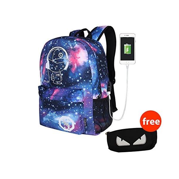 48777acd8b Galaxy Anime luminoso Zaino – Zaino per scuola con porta di ricarica ...