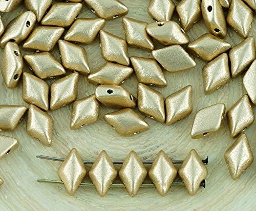 60pcs Matte Metallic Bronze Pale Gold Matubo GemDuo Rhombus Diamant-Zwei 2-Loch-Tschechische Glas-Perlen-Edelstein-Duo 8mm x 5mm