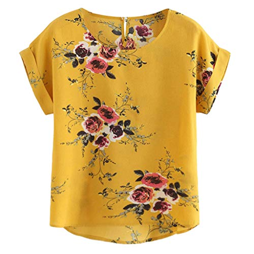 HHyyq Women's Short-Sleeved Swimming Shirt SPF 50+ Rash Guard Swimsuit Women's Short-Sleeved Flower Pumps Printed Tops Beach Casual Loose Blouse Top T-Shirt(Gelb,S) - Gerippte Ballon