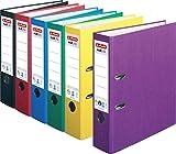HERLITZ Ordner maX.file nature+ A4 8cm | Kraftpapierbezug selbstklebendes Rückenschild | 6er Special Pack (Grundfarben + violett) limitierte Edition