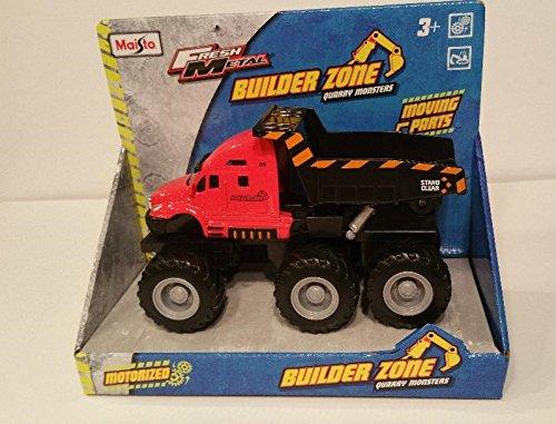 Maisto® Fresh Metal Builder Zone Quarry Monster - Red Brush Fire Dump Truck - Motorized 6-Wheeler (Dump Truck Red)