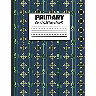 Primary Composition Book: Green Arrows on Dark Blue, 200 Pages, Handwriting Paper (7.44