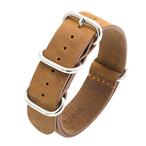 04b7ccbb42f Nato Strap Crazy Horse Leather Watch Band 18mm 20mm 22mm Top Grain Genuine  Leather Watch Strap