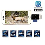 Trail Kamera SD Kartenleser viewer- tuop 3 in 1 Micro SD/TF/SD-Kartenleser für iPhone/iPad/PC/Android und Samsung Andere Smartphones Tablets schwarz
