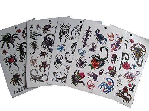 5fogli (50+ tattoos) nero kunstle risch giovani, scorpione, uomo ragno temporäres tattoo feste sacchetto regalo-spedizione di londra di fat-catz-copy-catz-