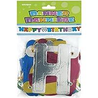 Unique Party 9011 - 1,4 m Festone metallizzato Happy Birthday - Festa Di Compleanno Decorazione Idee