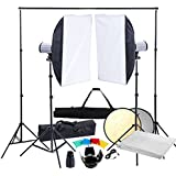 Kit Photo 2 Softbox 50x70 avec Fond blanc et accessoires