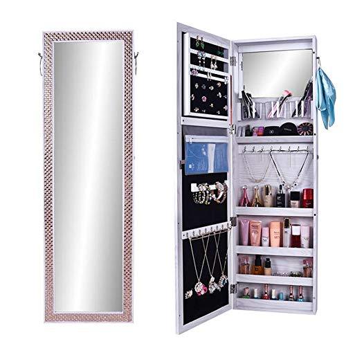Armadio specchio portagioie bianco con anta a specchio e organizzatore interno armadio portagioie-gancetti, cassetti e vano salvaspazio bianco