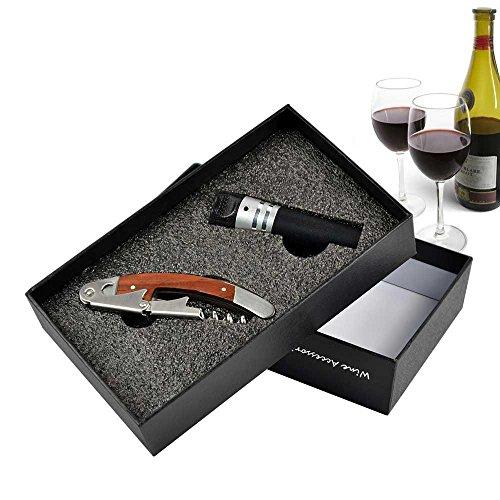 AOLVO Professionelle Korkenzieher und Wein Stopper Vakuum, 3in1Korkenzieher, Flaschenöffner und Kapselabschneider mit Luxus Verpackung für Mixer/Sommeliers und Kellner