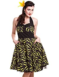 DangerousFX Damen Kleid Schwarz Black & Yellow