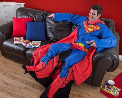 Character World - Coperta in pile, con maniche lunghe, misura da adulti, soggetto: Superman