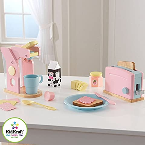 KidKraft Pastel Coffee and Toaster Wooden Toys Kitchen Appliance Set for Toddler Girls, Age 3 and