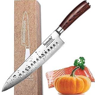Couteau de Chef - Sunnecko 20cm Couteau de Cuisine - Acier Inoxydable Allemand Avec Manche en Bois Pakka Lame Anti-Corrosion