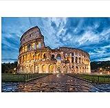 Wc-asdcc Pintura Diamante Roma Coliseo Italia Edificio Pasado DIY 5D Bordado De Diamantes Diseño Cuadrado Completo Decoración para El Hogar 40X60Cm
