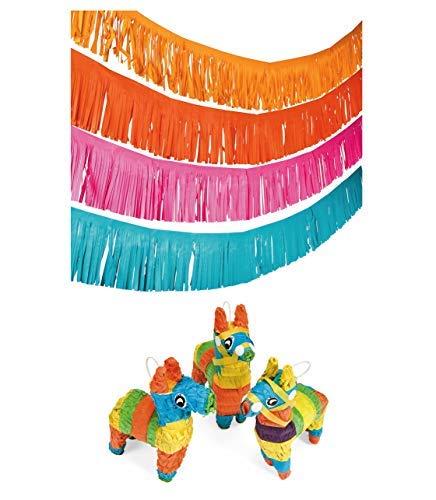 ot Party-Set mit Fransengirlande und Mini-Llama Piñatas, ideal für Boho, Cinco de Mayo, Fiesta Mottopartys ()