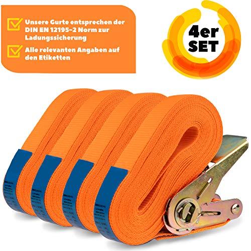 MOOcom! 4er Set Spanngurte Zurrgurte mit Ratsche einteilig - EN 12195-2 - 6 Meter lang bis zu 800kg - Spanngurt zur Ladungssicherung (Polyester, 6 Meter)