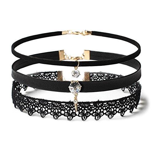 Hanie Schwarz Choker Set für Damen Mädchen 3 Stück Halskette mit Anhänger Weiß Zirkonia Steine...