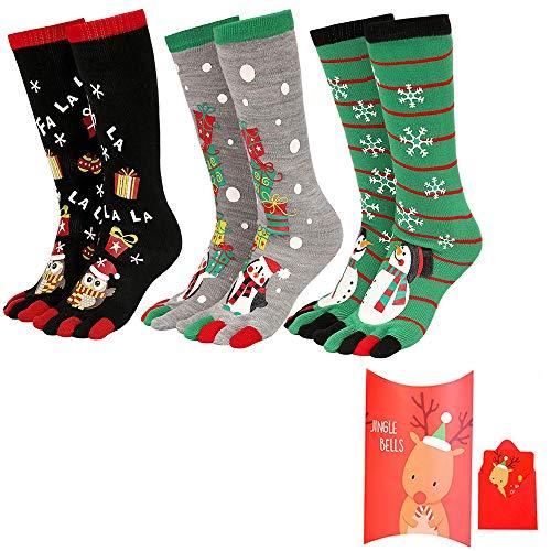 Vertvie Homme/Femme Chaussettes Rayures Colorées Noël en Coton avec Orteils Séparés Cinq Doigts de Pieds Socquettes Fantaisie Respirant (Taille Unique(35-43), 3 Paires B)