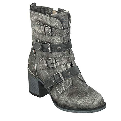 Mustang 1296-601 Schuhe Damen Stiefeletten Ankle Boots, Schuhgröße:38, Farbe:Silber -