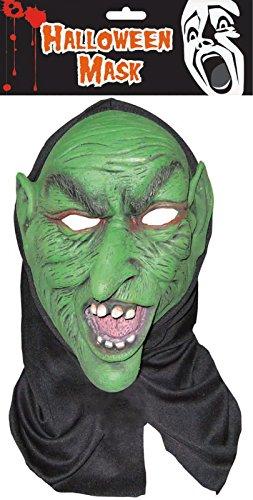ke aus Latex mit Schwarz Lange Cape Halloween Scary Kostüm (Goblin Kostüme Erwachsene)