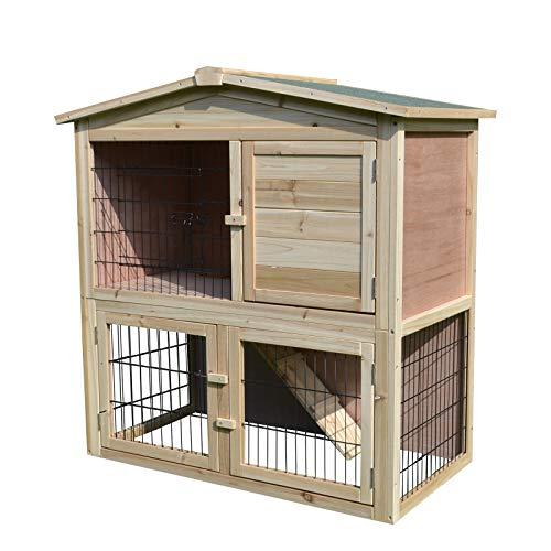 PawHut Kaninchenhaus Kaninchenstall Hühnerstall Stall für Meerschweinchen Hasen mit Freilauf Tannenholz Natur 98 x 54 x 100 cm