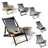 Printalio Paragliding - Liegestuhl Bedruckt Balkon Garten Sonnenliege Relax Holz Terrasse | mit Armlehne, Dunkelbraun
