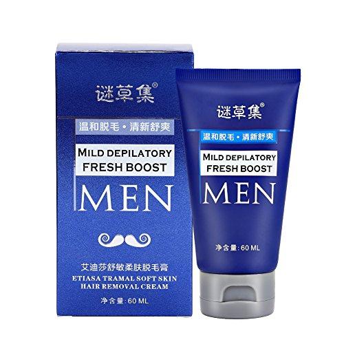 Crema depilatoria, 60ml Crema depilatoria per uomo Una crema depilatoria rapida ed efficace per ascelle, petto, schiena, gambe e...