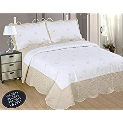ForenTex- Colcha Boutí Cosida y Bordada, (YX-2611), cama 180 cm, 270 x 270 cm, Crema, +2 fundas cojín 50 x 70 cm, colcha barata, set de cama, ropa de cama. Por cada 2 colchas o mantas paga solo un envío (o colcha y manta), descuento equivalente antes de finalizar la compra.