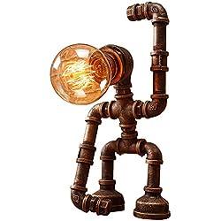 Rishx Creative Creative Robotique Twater Pipe Desk Light Industriel Rétro Bureau Anniversaire Cadeau Décoration Lanterne Steampunk Edison E27 Lampe De Table En Métal Pour Le Salon Chambre Chevet
