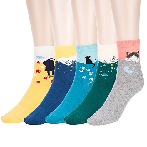 Women Winter Cotton Socks Cartoon - Digitek Ladies Cotton Rich Cute Animals Character Socks, Ladies Festive Christmas Socks