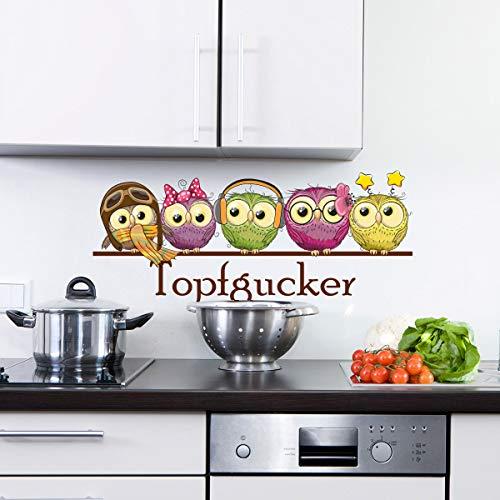 Sunnywall Wandtattoo Topfgucker Eulen Vögel Kochen Küche Essen Wandsticker bunt Farbe Größe 2
