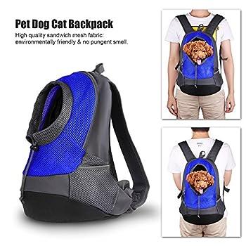 Sac à dos pour chien,REDKINDER Chien Sac à Dos de transport Portable et mains libres réglable pour animal domestique Sac avec respirant en maille filet pour la marche randonnée Vélo et moto (Rose Rot)